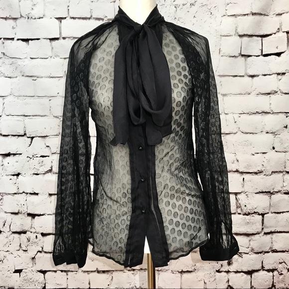 a11518b5 Dolce & Gabbana Tops - Dolce & Gabbana Black Polka Dot Pussy Bow Blouse